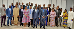 Group Photo of Mr. Tèi KONZI, Commissioner for Trade, Customs and Free Movement at the ECOWAS Commission, Mr. GOLI Kouame Philippe Louis, Director of Community Policy, Trade, Industry and Free Movement from the Ministry of African Integration Cote D'Ivoire, and distinguish delegates from Member states.
